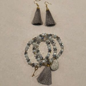 New Grey and White Jewelry Set